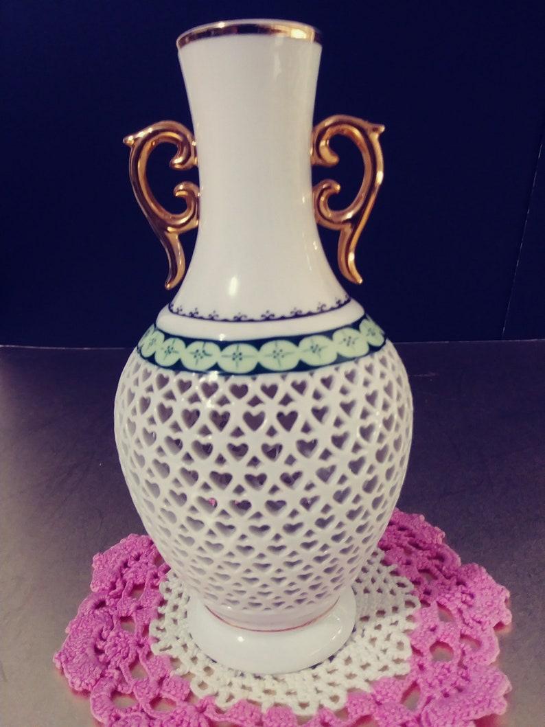 Porcelain Pink Rose Heart Pattern Vase Gifts For Her Gifts For Mom Housewarming Gifts Vintage Vase
