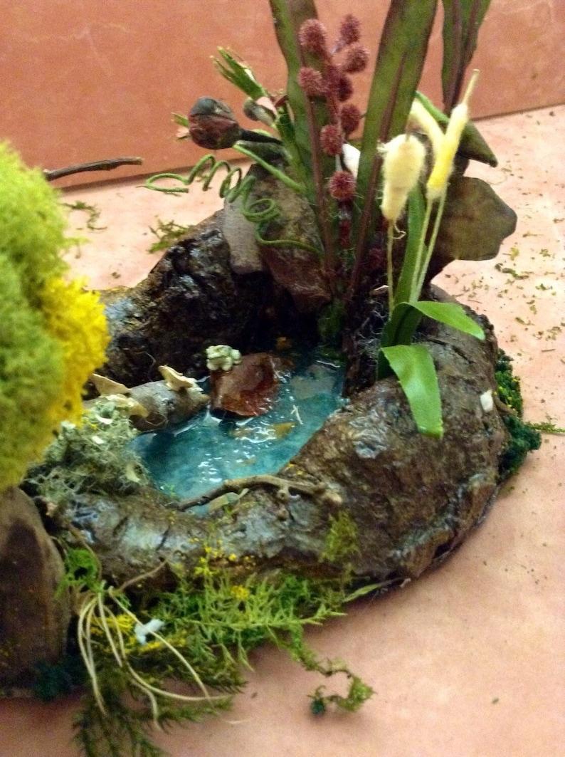 Unique OOAK Handmade Miniature Fairy Garden Frog Pond With Tree Fairy Garden Ideas Bonsai Garden Decorations Terrarium Decorations Gift Idea