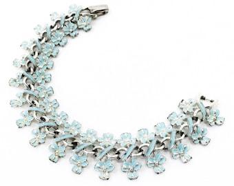 Aqua blue signed Coro post-1955 floral bracelet, enameled, infinity-links