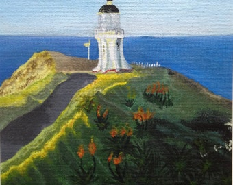 Original, 8in x 10in, Lighthouse on a Hill, Acrylic Painting