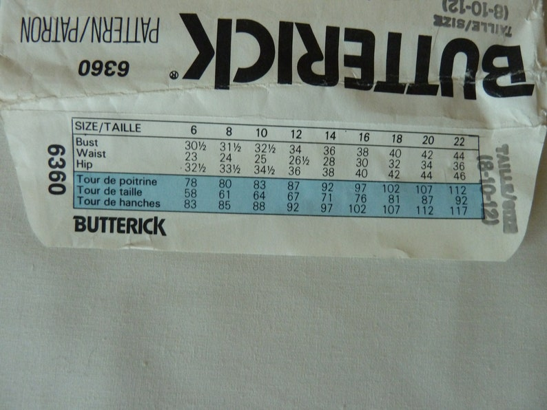 Butterick 6360 Misses/' Dress Classic Blouson Elasticized Waist Vintage 1980/'s New