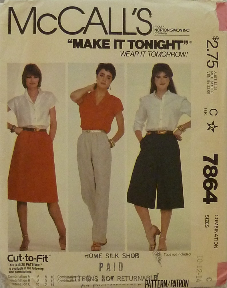 Price Reduced! McCall's 7864 Misses Skirt Pants Culottes Vintage Easy to  Make