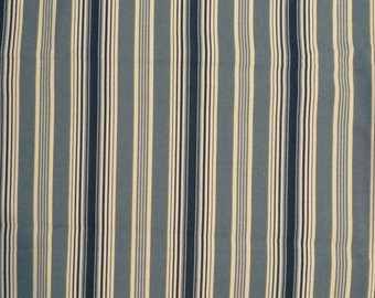 "Waverly Rodeo Dr Cotton Denim Blue and Off-White Awning Stripe 36"" x 56"""