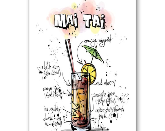 Mai Tai Card, Drink Recipe Card, Party Invitation,21st Birthday,Thank You,Bartender Card,Alcohol Card,Cocktail Party, Send Positive Thoughts