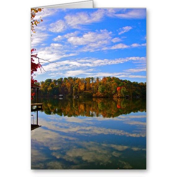 Send Positive Thoughts, Smith Mountain Lake VA, Roanoke Landmark, Invitation, Thank You Card, Scenic View, Reflection, Fall Leaves