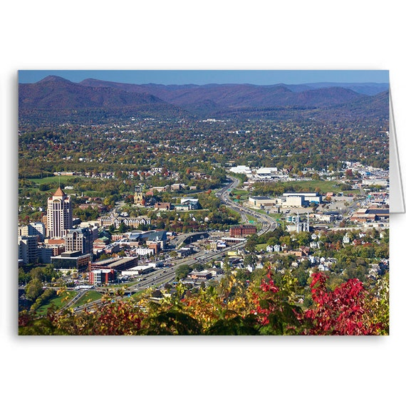 Roanoke Virginia, Roanoke Star View, Scenic Card, Downtown View,  Party Invitation, The Star City, Mill Mountain, Send Positive Thoughts
