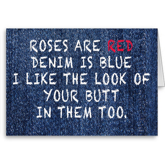 Naughty Anniversary Card, Funny Anniversary, Sexy Card, For Girlfriend, From Boyfriend, Roses Are Red Denim is Blue, Send Positive Thoughts