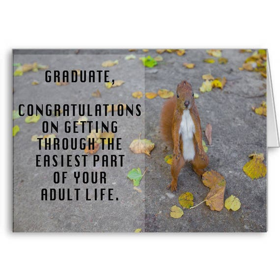 Funny Graduation Card, Class of 2020, Funny Congratulation, High School Grad, College Grad, Easiest Part, Adult Life, Send Positive Thoughts