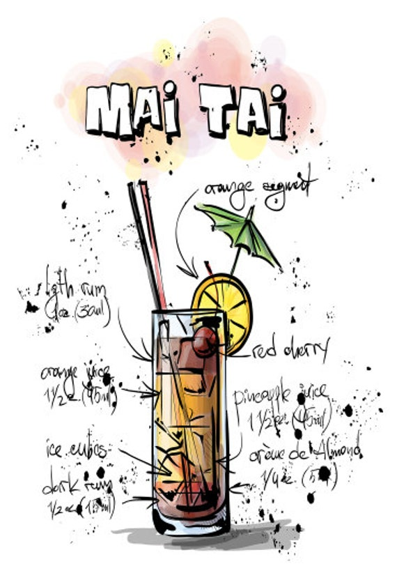 Send Positive Thoughts, Mai Tai Drink Recipe Blank Greeting Card, Party Invitation, Thank You Card, Birthday Party Card