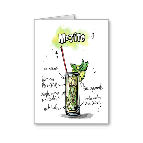 21st Birthday Card | Mojito Card | Drink Recipe Card | Party Invitation | Bartender | Alcohol | Cocktail Party | Send Positive Thoughts
