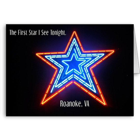 Roanoke Star Card, Landmark Card, Red White Blue, July 4th Card, Independence Day, Mill Mountain, Roanoke VA, Send Positive Thoughts