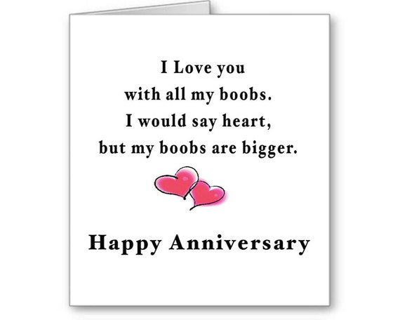 Naughty Anniversary Card, Funny Anniversary Card, I Love You With All My Boobs, Sexy, Big Boobs, Boyfriend, Husband, Send Positive Thoughts