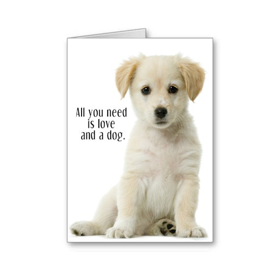 Sympathy Card, Pet Adoption Card, Foster Puppy, Dog Lover, Forever Home, Adoption, All you need is love and a dog, Send Positive Thoughts