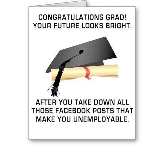 Funny Graduation Card, Class of 2020, Your Future Looks Bright After You Take Down All Those Facebook, Posts, Send Positive Thoughts