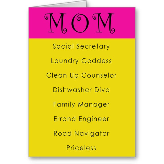 Mother's Day Card, Card for Mum, Funny Mother's Day, For Wife, For Her, Dishwasher Diva, Laundry Goddess,Priceless, Send Positive Thoughts