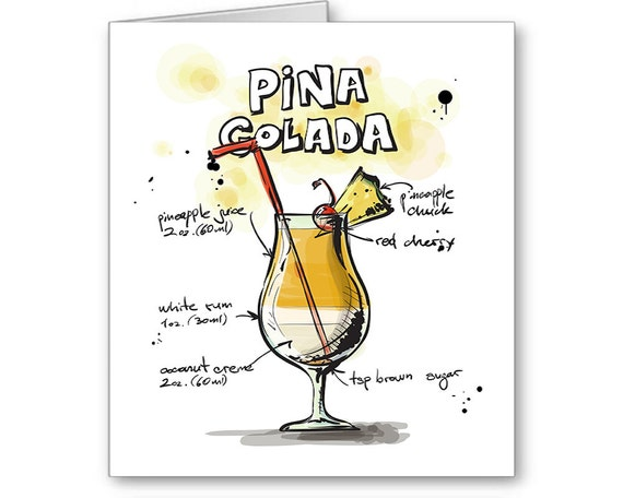Pina Colada Card, Drink Recipe Card, Party Invitation, 21st Birthday, Thank You Card, Bartender Card, Alcohol Card, Send Positive Thoughts
