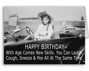 Funny Birthday Card for her, Girlfriend, Mom,Best Friend,Birthday Quotes,50th Birthday, 60th Birthday, Funny Old Lady,Send Positive Thoughts