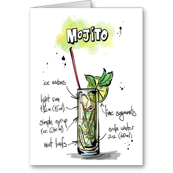 Mojito Card,Drink Recipe Card,Party Invitation, 21st Birthday,Thank You, Bartender Card, Alcohol Card, Cocktail Party,Send Positive Thoughts