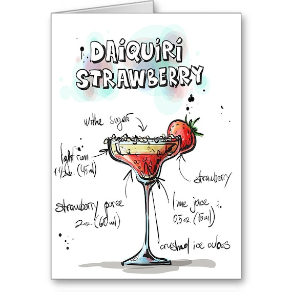Strawberry Daiquiri Card, Drink Recipe,Party Invitation, 21st Birthday, Thank You, Alcohol Card, Cocktail Party, Send Positive Thoughts