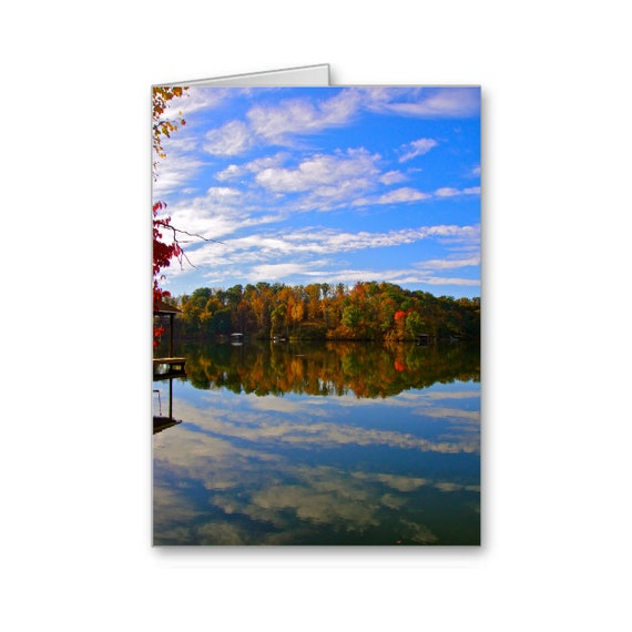 Smith Mountain Lake VA, Roanoke Landmark, Invitation, Thank You Card, Scenic View, Reflection, Fall Leaves, Send Positive Thoughts