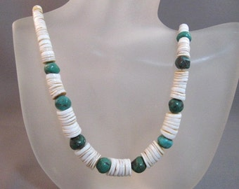 Native American clamshell and turquoise bead necklace