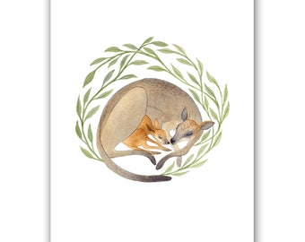 Wallaby Family | A4 Art Print
