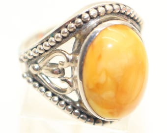 Silver Statement Ring Yellow Amber Chunky from QVC Made in India Statement Ring - USA size 7 1/2 - UK size P  Large Silver Ring Gift For her