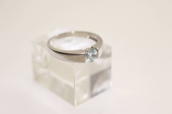 White Gold Solitaire Ring Qvc Blue Diamonique White Gold 9ct Etsy