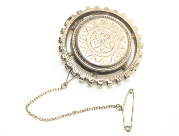 Victorian Antique Brooch Pin Silver White Metal wi