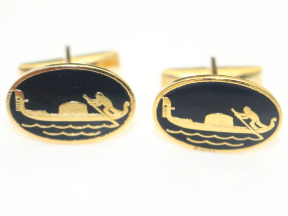 Vintage Mens Cufflinks Black Horse Gold Tone Round 1970s Gents Jewelry Equestrian Animal Stylish Father/'s Day gift Wedding for Men Him Groom