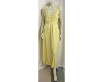 Vintage 1950s Nightgown Bias-Cut Yellow Nylon Tricot with Lace