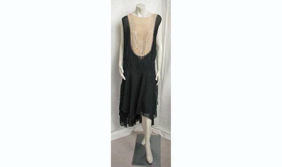 Vintage 1920s Dress Silk Georgette 2-Tone with Rhi