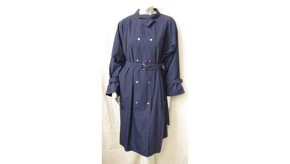 Vintage 1960s PAULINE TRIGERE Trench Coat Navy Blu