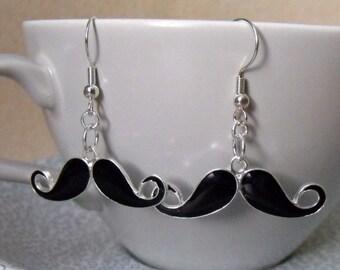 Silver Plated and Enamel Moustache Earrings