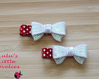 Christmas Hair Clip Set Of 2 Choose Set White or  Red Sequin Bow on Green or Red Polka Dot Clip Newborn  Adult Girl Photography Handmade