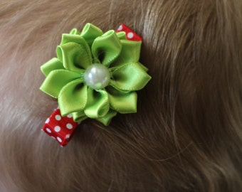 Christmas Hair Clip Set Of 2 Red Polka Dot Ribbon with Green Flower on Clip for Newborn - Adult Girl Photography