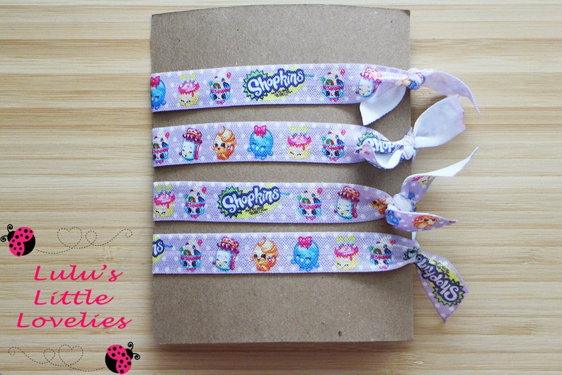 Stretchy Pony Tail Holder Birthday Gift Hair Tie Gift Set Shopkins Party Shopkins Hair Ties Birthday Party Favors Stocking Stuffer