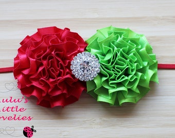 Christmas Flower Headband Red & Green Flowers with Rhinestone Center on Red FOE, Skinny Elastic, Clip Newborn - Adult Photoshoot Christmas