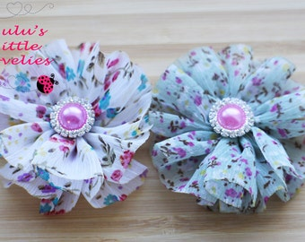 Spring Floral Hair Clip Set of 2 on Alligator Clips for Newborn- Adult Hair Easter, Ponytails RTS