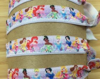 Princess Hair Ties, Disney Princesses, Stretchy Pony Tail Holder, Birthday Gift, Stocking Stuffer, Birthday Party Favors, Hair Tie Gift Set