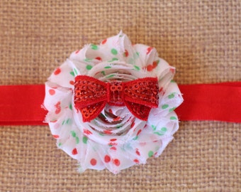 Christmas Bow Headband Polka Dot Flower with Red Sequin Bow on Red or White FOE, Skinny Elastic, Clip Newborn - Adult Photos Christmas RTS