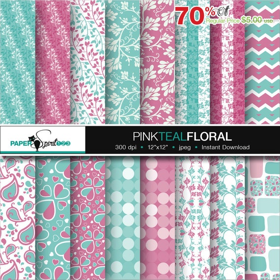 Floral Pattern Digital Paper Pink Teal Pastel Colour 16 Etsy