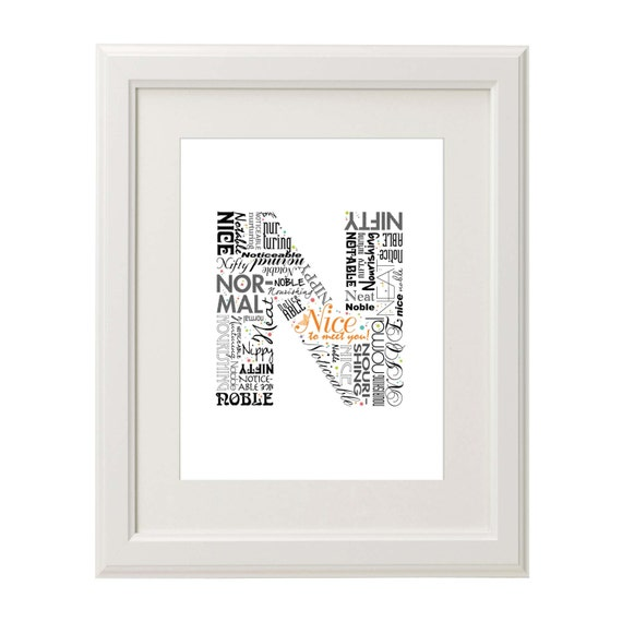 Positive Words Start With Letter N Alphabet N Monogram Etsy