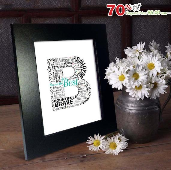 Positive Words Start With Letter B Alphabet B Monogram Etsy