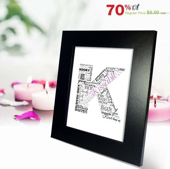 Positive Words Start With Letter K Alphabet K Monogram