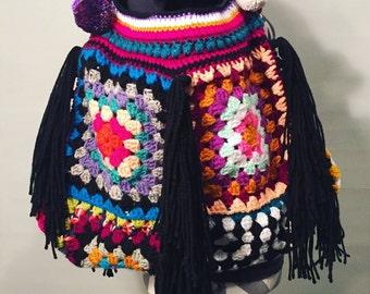 Boho tote bag // hippie tote // festival tote bag // gypsy tote purse // granny square tote bag // hippie // gypsy boho festival // tote