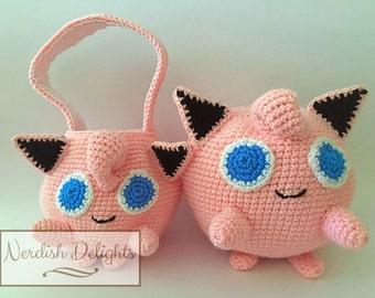 Crochet pattern for Jigglypuff Pokemon Go handbag or plush toy