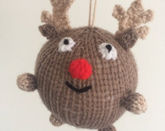 reindeer christmas bauble knitted xmas decoration rudolph knit amigurumi handmade crochet holidays