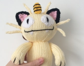Meowth pokemon knitting pattern pokemon plushie cat knit pattern toy knitting pattern amigurumi