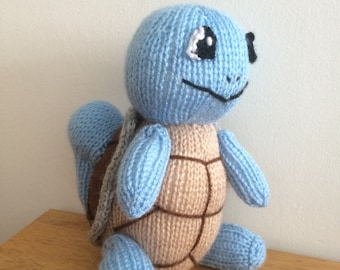 Squirtle toy knitting pattern pokemon plushie animal knit pattern knitted turtle